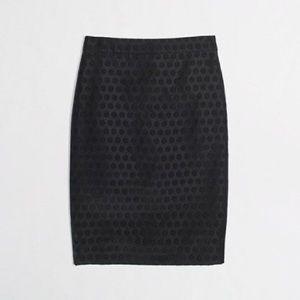 J. Crew Black Jacquard Polka Dot Pencil Skirt